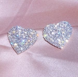 Swarovski heart shaped stud earings